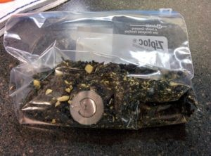 RFID tag stuck to bag of tea